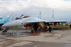 Russian multipurpose superarmane fighter Su-35 on the codificat Stock Photography