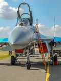Ukrainian Sukhoi Su-27 aircraft during Radom Air Show. Russian multirole fighter military aircraft Sukhio Su-27 used by Ukrainian Air Force on static display in royalty free stock photos