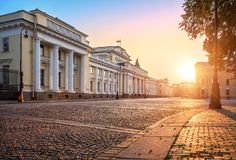 Russian Museum of Ethnography. In the rays of the aun dawn sun and pavement royalty free stock images