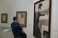 Russian Museum. Spectators in paintings by Leon Bakst Stock Image
