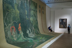 Russian Museum. Spectators in paintings by Leon Bakst Royalty Free Stock Photos