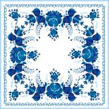Russian national blue floral pattern Stock Photography