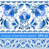 Russian national blue floral pattern Royalty Free Stock Images