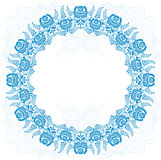 Russian national circular ornament with empty Stock Photo