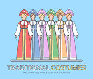 Russian national clothes illustration. Women's traditional dresses background concept. Vector elements design Royalty Free Stock Image