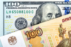 Russian national currency devaluation Stock Images