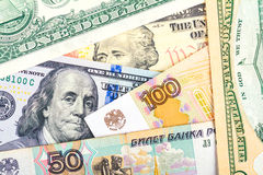 Russian national currency devaluation Stock Photos