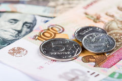 Russian national currency devaluation Stock Photo