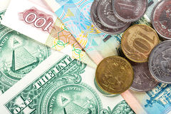 Russian national currency devaluation Royalty Free Stock Image