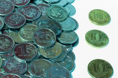 Russian national currency ruble coins on white background.  stock images