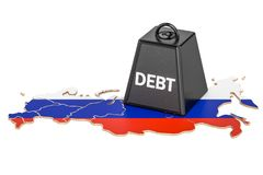 Russian national debt or budget deficit, financial crisis concep. T, 3D Royalty Free Stock Images