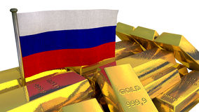 Russian national economy concept with gold bullion Royalty Free Stock Photos