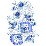 Russian national floral pattern in style Gzhel (a flowers of Russian ceramics, painted blue on white). Stock Photo