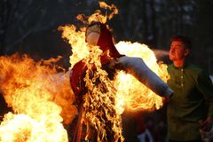 Russian national holiday Maslenitsa.Burn the Scarecrow stock photography