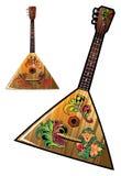 Russian national music instrument - balalaika. Russian balalaika with flower ornaments, vector illustration Royalty Free Stock Photo