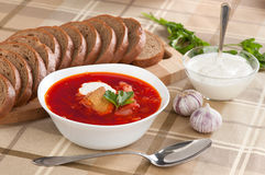 Russian national red borsch. Soup stock image