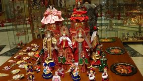 Russian national souvenirs. Traditional Russian souvenirs, dolls, figurines, trays, in the Tsaritsino Museum, Moscow Royalty Free Stock Photo