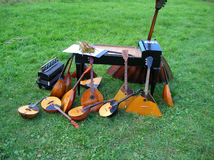 Russian national tools. On green grass Royalty Free Stock Photos