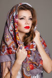 Russian national traditional scarf on your head Royalty Free Stock Images