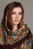 Russian national traditional scarf on your head Stock Image
