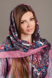 Russian national traditional scarf on your head Stock Photography