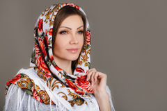 Russian national traditional scarf on your head Royalty Free Stock Photography