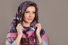Russian national traditional scarf on your head Stock Images
