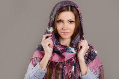 Russian national traditional scarf on your head Royalty Free Stock Image