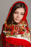 Russian national traditional scarf on your head Royalty Free Stock Photos
