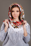 Russian national traditional scarf on your head Stock Photos