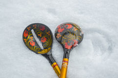 Russian national wooden spoon Royalty Free Stock Image