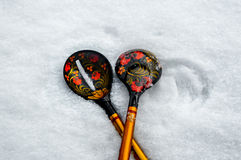 Russian national wooden spoon Stock Photo