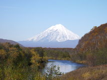 Russian nature. Kamchatka, mountain and lakes Royalty Free Stock Image