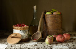 Russian naturemorte with foxberries Royalty Free Stock Photography