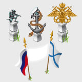 Russian and naval flag, emblem, symbols, monument. Russian and naval flag, emblem and symbols of the country Stock Image