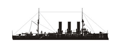 Russian Navy Cruiser Aurora. Vector Silhouette royalty free illustration