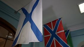The Russian Navy Ensign , also known as the St Andrews`s flag. stock video footage