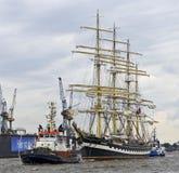 Russian Navy sail training ship Kruzenshtern. At the harbour birthday 2012, Hamburg, Germany Royalty Free Stock Photography