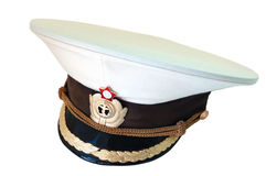 Russian navy service cap. Russian navy summer  service (peak) cap on isolated background Royalty Free Stock Image