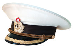 Russian navy service cap. Russian navy summer service (peak) cap on isolated background royalty free stock photo
