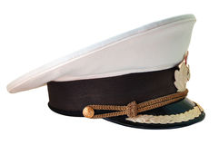 Russian navy service cap. Russian navy summer  service (peak) cap on isolated background Stock Photography
