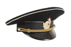 Russian navy service (peak) cap. On white background Stock Photography