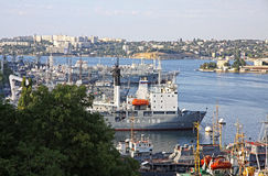 Russian Navy warships at the Bay of Sevastopol, Crimea, Ukraine Royalty Free Stock Photo