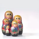 Russian Nested Dolls. Hand painted, wooden Russian nesting dolls stock photography