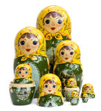 Russian Nested Dolls. Family of Russian nested dolls isolated on white stock photo