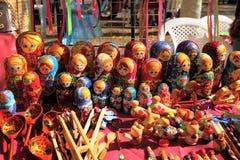 Russian nested dolls matryoshka at the fair Stock Image