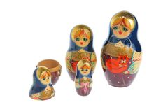 Russian nested matryoshka isolated on white Stock Images