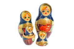 Russian nested matryoshka isolated on white Royalty Free Stock Photography
