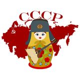 Matryoshka with a balalaika. Russian nesting doll with a balalaika on a background map of Russia. Abbreviation in Russian. The Soviet Union means the Union of Royalty Free Stock Images