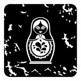 Russian nesting doll icon, grunge style Royalty Free Stock Image